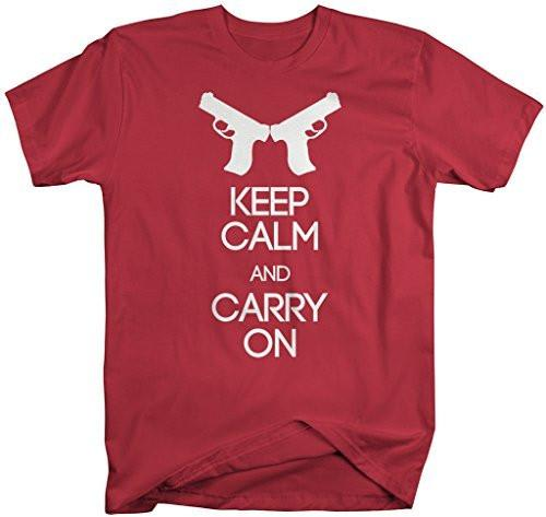 Shirts By Sarah Men's Keep Calm Carry On Gun Shirt 2nd Amendment T-Shirts-Shirts By Sarah