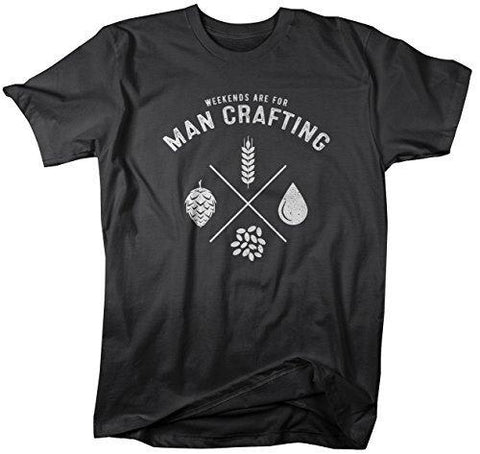 Shirts By Sarah Men's Funny Craft Beer T-Shirt Weekends For Man Crafting Brew Shirt-Shirts By Sarah