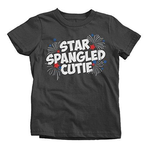 Shirts By Sarah Girl's Star Spangled Cutie 4th July T-Shirt Toddler Tee Shirts-Shirts By Sarah