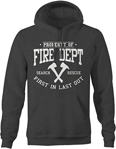 Shirts By Sarah Men's Firefighter Hoodie Property Of Fire Dept Sweatshirt-Shirts By Sarah