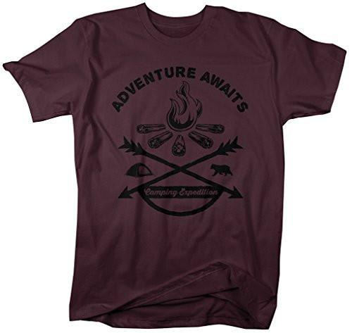 Shirts By Sarah Men's Adventure Awaits Camping T-Shirt Bonfire Expedition Shirts-Shirts By Sarah