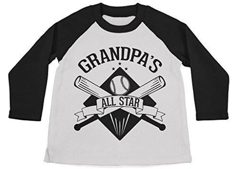 Shirts By Sarah Boy's Grandpa's All Star Shirt 3/4 Sleeve Baseball Raglan-Shirts By Sarah