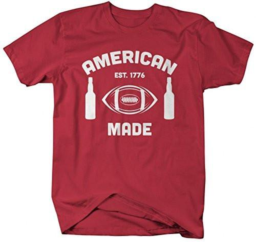 Shirts By Sarah Men's American Made Football Beer T-Shirts Patriotic Shirts-Shirts By Sarah