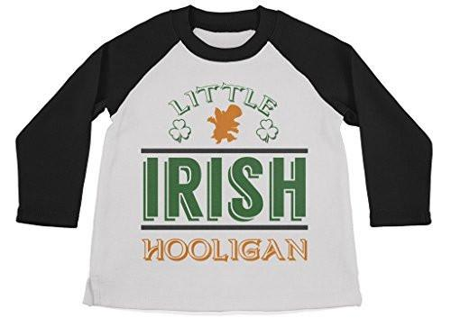 Shirts By Sarah Boy's Funny Little Irish Hooligan Shirt 3/4 Sleeve St. Patrick's Raglan-Shirts By Sarah