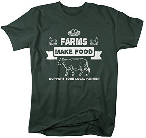 Shirts By Sarah Men's Farms Make Food T-Shirt Support Farmer Shirt Cow Chicken-Shirts By Sarah