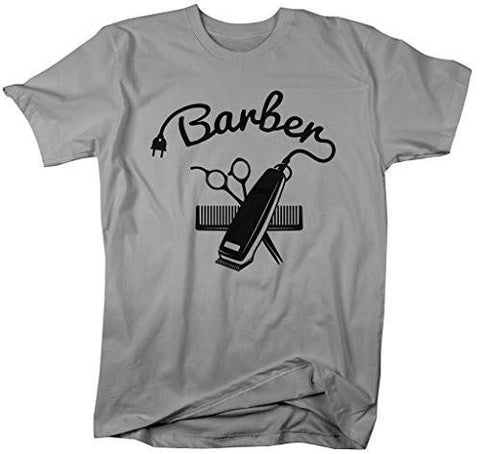 Shirts By Sarah Men's Barber Shirts Hair Clippers Cotton Ring Spun T-Shirt-Shirts By Sarah