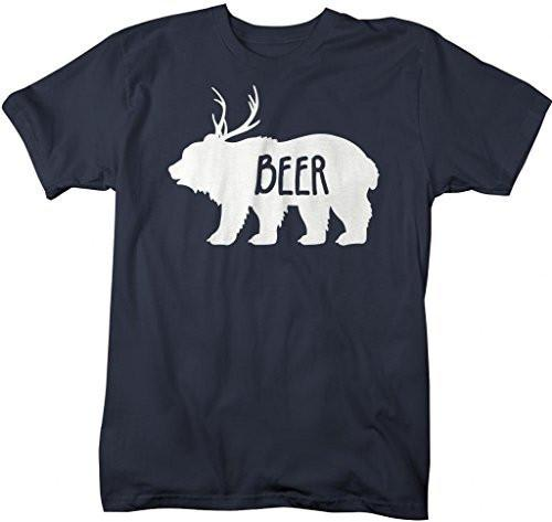 Shirts By Sarah Men's Funny Bear Plus Deer Beer T-Shirt Drinking Shirts Hipster-Shirts By Sarah