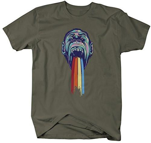 Shirts By Sarah Men's Hipster Ape T-Shirt Puke Rainbow Shirts-Shirts By Sarah