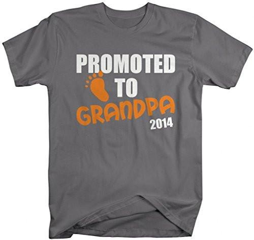 Shirts By Sarah Men's Promoted To Grandpa 2014 T-Shirt New Baby Reveal Shirts-Shirts By Sarah