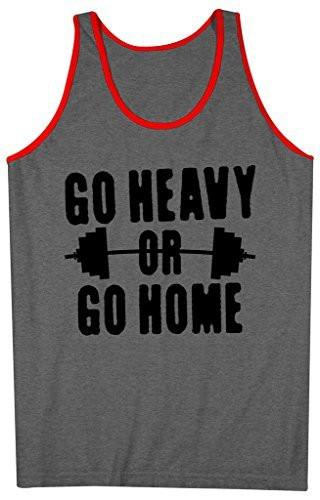 Shirts By Sarah Men's Go Heavy Or Go Home Tank Top Lifting Tanks-Shirts By Sarah