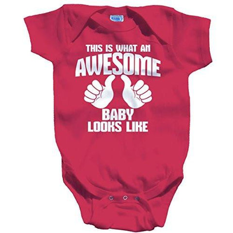 Shirts By Sarah Baby What An Awesome Baby Looks Like Bodysuit - Hot Pink / 12 Months - 2
