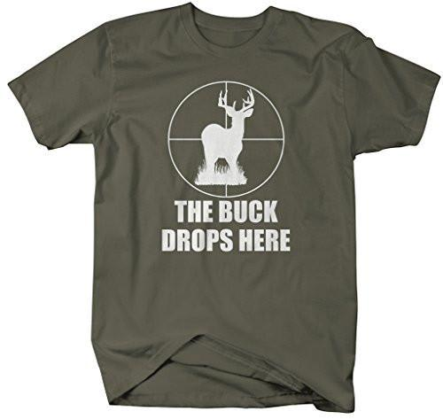 Shirts By Sarah Men's Funny Hunting T-Shirt Buck Drops Here Deer Shirt-Shirts By Sarah