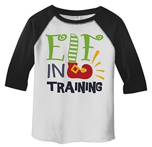 Shirts By Sarah Toddler Elf In Training Cute T-Shirt 3/4 Sleeve Raglan-Shirts By Sarah
