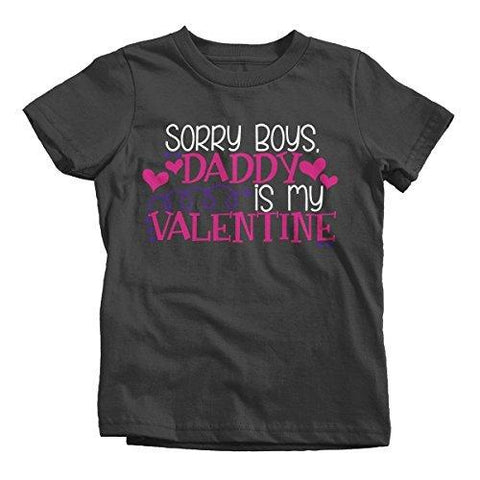 Shirts By Sarah Girl's Daddy Is My Valentine Kids Funny Valentine's Day T-Shirt-Shirts By Sarah