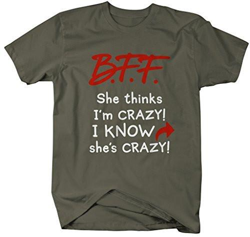 Shirts By Sarah Women's Unisex Funny Best Friends T-Shirt Crazy BFF Tees (Left Arrow)-Shirts By Sarah
