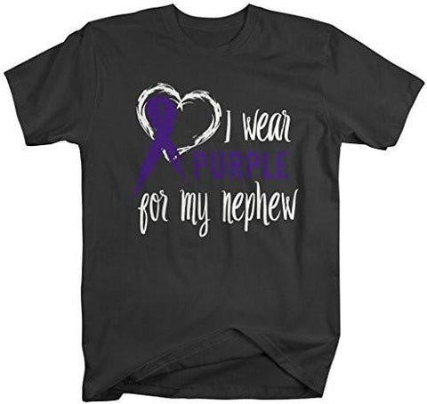 Shirts By Sarah Men's Purple Ribbon Shirt Wear For Nephew T-Shirt Awareness Support Shirt-Shirts By Sarah