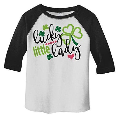 Shirts By Sarah Girl's Toddler Lucky Little Lady ST. Patrick's Day Clover T-Shirt-Shirts By Sarah