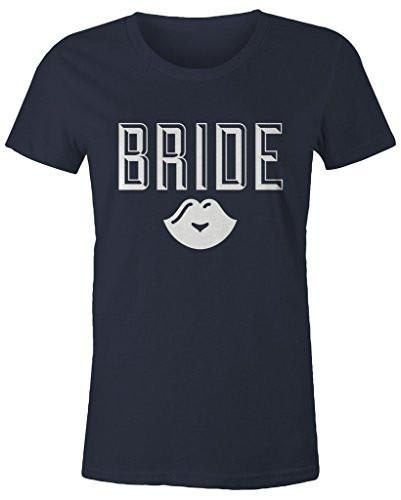 Shirts By Sarah Women's Bride Lips T-Shirt Wedding Shirt-Shirts By Sarah