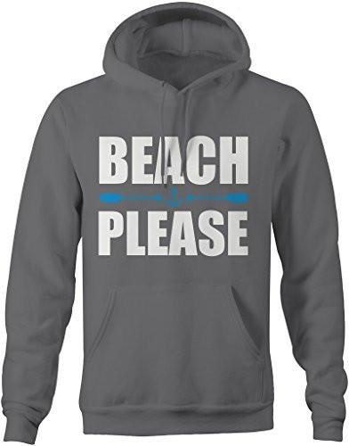 Shirts By Sarah Men's Men's Funny Beach Please Hoodie Nautical Sweatshirts-Shirts By Sarah