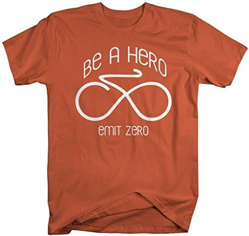 Shirts By Sarah Men's Hipster Bicycle T-Shirt Emit Zero Infinity Biking Shirts-Shirts By Sarah