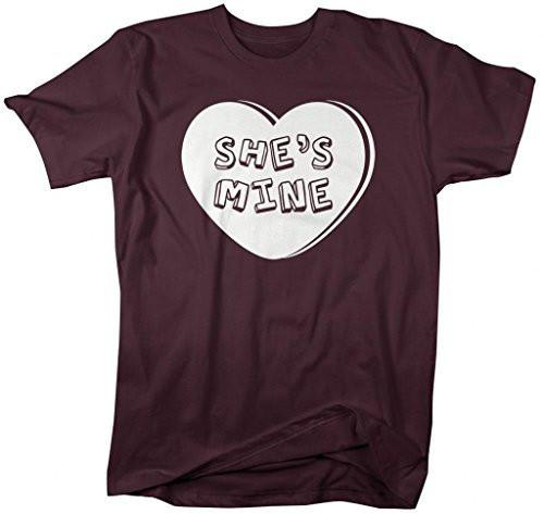 Shirts By Sarah Men's Matching Valentine's Day Couples T-Shirts She's Mine Heart Shirts-Shirts By Sarah
