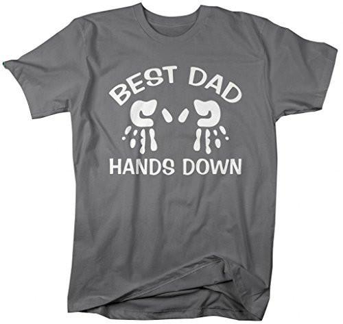 Shirts By Sarah Men's Best Dad Hands Down T-Shrit Father's Day Shirts-Shirts By Sarah
