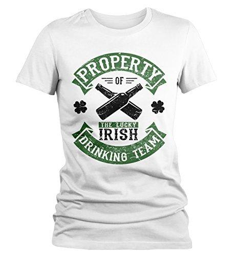 Shirts By Sarah Women's Funny ST. Patrick's Day Irish Drinking Team T-Shirt Property Of-Shirts By Sarah