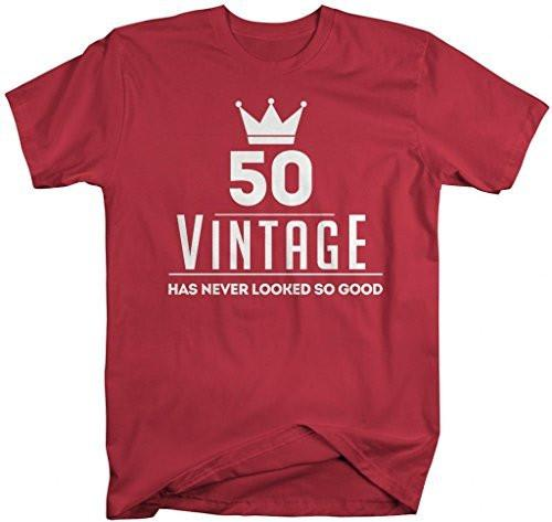 Shirts By Sarah Men's Funny 50th Birthday T-Shirt Vintage Never Looked So Good Shirts-Shirts By Sarah