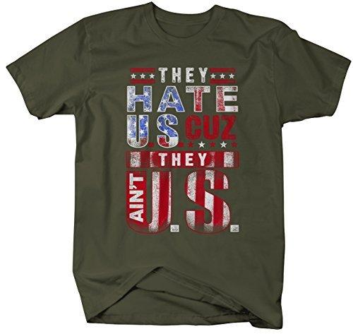 Shirts By Sarah Men's Funny Patriotic They Hate U.S. Ain't Us T-Shirt 4th July Shirt-Shirts By Sarah
