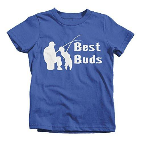 Shirts By Sarah Boy's Matching Father Son Best Buds Fishing T-Shirt-Shirts By Sarah