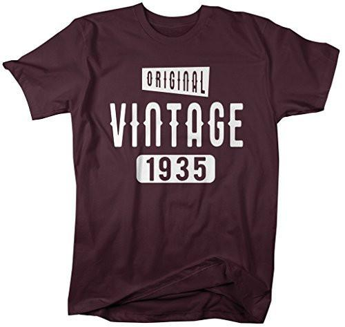 Shirts By Sarah Men's Original Vintage Birthday Year Shirts Made In 1935 T-Shirt-Shirts By Sarah
