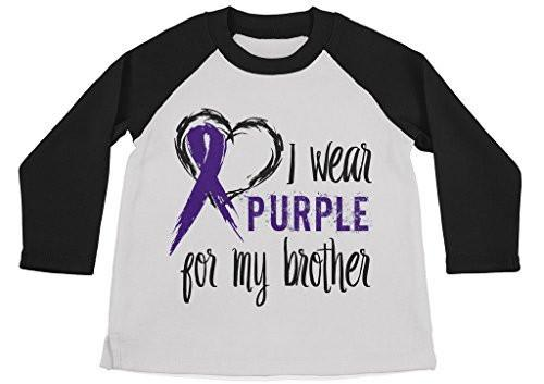 Shirts By Sarah Boy's Wear Purple For Brother Shirt 3/4 Sleeve Purple Awareness Shirts-Shirts By Sarah