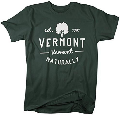 Shirts By Sarah Men's Vermont State Slogan Shirt Naturally T-Shirt Est. 1791-Shirts By Sarah