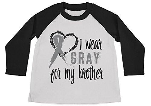 Shirts By Sarah Boy's Wear Gray For Brother Shirt 3/4 Sleeve Gray Awareness Shirts-Shirts By Sarah