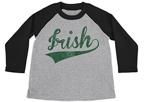 Shirts By Sarah Boy's Irish 3/4 Sleeve Raglan St. Patrick's Day Distressed Shirt-Shirts By Sarah