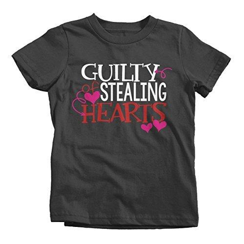 Shirts By Sarah Youth Guilty Stealing hearts Kids Funny Valentine's Day T-Shirt Boy's Girl's-Shirts By Sarah