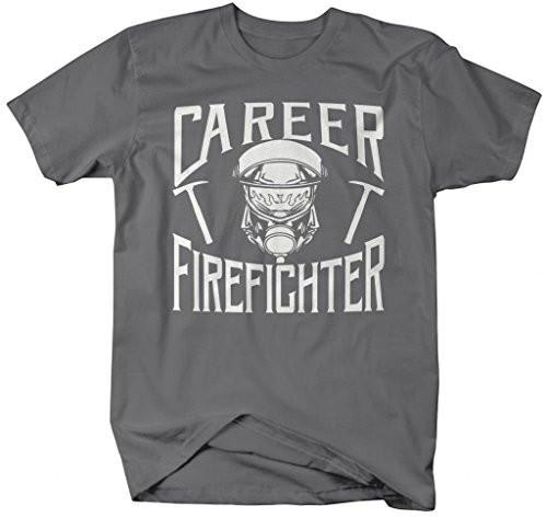 Shirts By Sarah Men's Career Firefighter T-Shirt Fireman Shirts-Shirts By Sarah