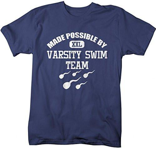 Shirts By Sarah Men's Funny Varisty Swim Team Sperm T-shirt-Shirts By Sarah