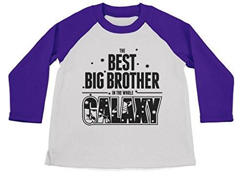 Shirts By Sarah Boy's Best Big Brother In Galaxy Cute Space 3/4 Sleeve Raglan Shirt-Shirts By Sarah