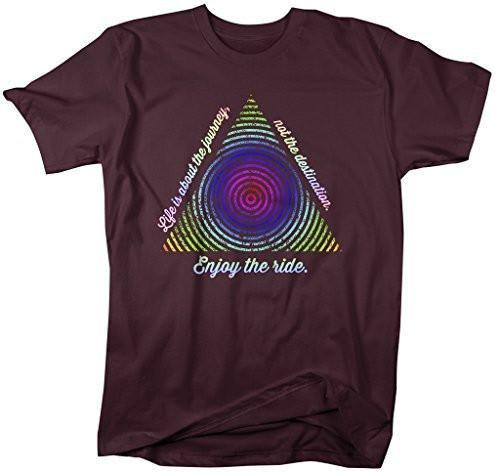 Shirts By Sarah Men's Hipster Life Journey Shirt Geometric Abstract Enjoy The Ride Tee-Shirts By Sarah