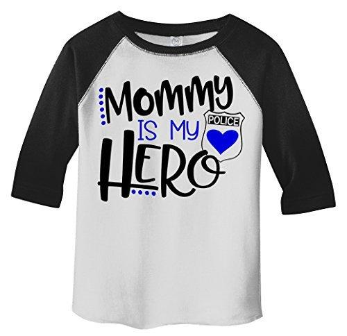 Shirts By Sarah Toddler Mommy Is Hero Police Officer Cop 3/4 Sleeve Raglan T-Shirt-Shirts By Sarah