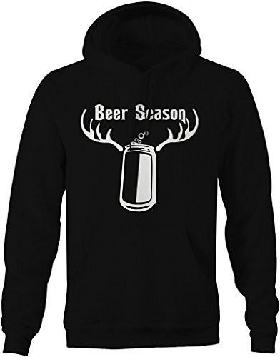 Shirts By Sarah Men's Funny Beer Season Antlers Hunting Hoodie-Shirts By Sarah