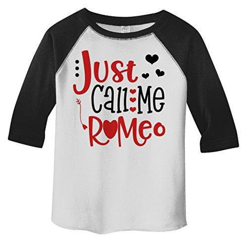 Shirts By Sarah Boy's Toddler Boy's Just Call Me Romeo Valentines Day 3/4 Sleeve T-Shirt-Shirts By Sarah