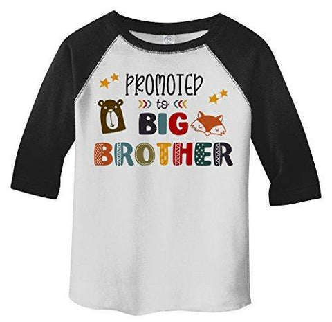 Shirts By Sarah Boy's Toddler Promoted To Big Brother Bear 3/4 Sleeve Raglan Tee-Shirts By Sarah