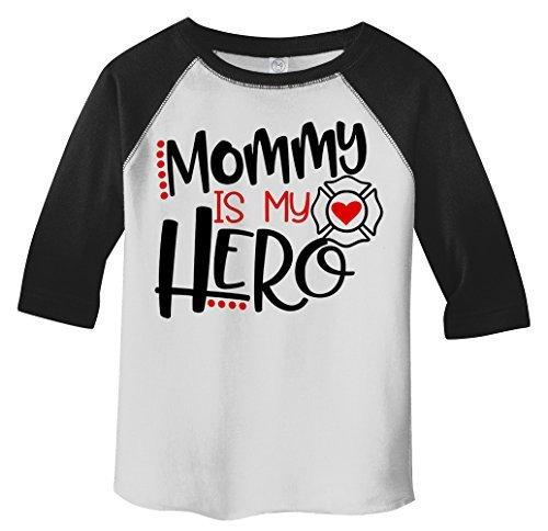 Shirts By Sarah Toddler Mommy Is Hero Firefighter 3/4 Sleeve Raglan T-Shirt-Shirts By Sarah