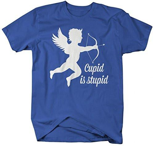Shirts By Sarah Men's Funny Valentine's Day T-Shirt Cupid Is Stupid Shirts-Shirts By Sarah