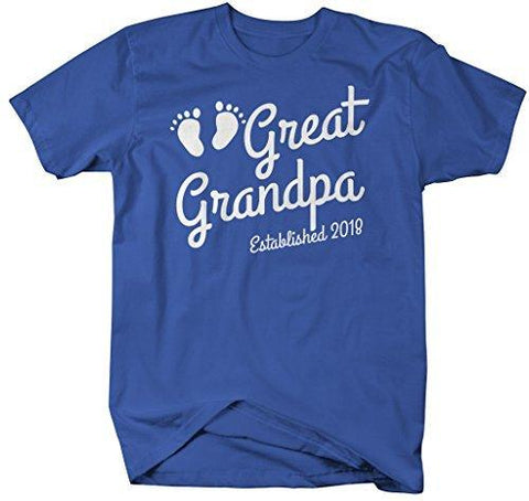 a2014f60 Shirts By Sarah Men's Great Grandpa Established 2018 T-Shirt Baby Feet Cute  Shirts-