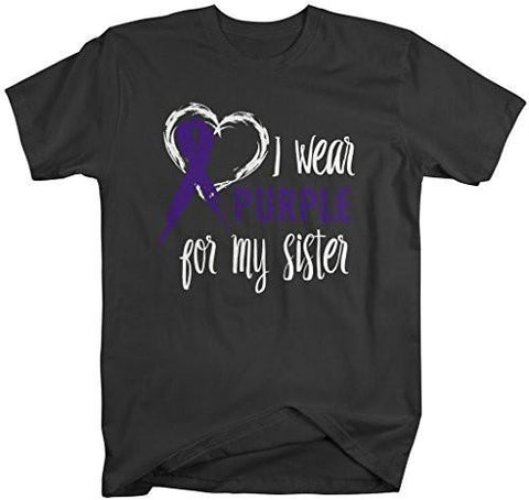 Shirts By Sarah Men's Purple Ribbon Shirt Wear For Sister T-Shirt Awareness Support Shirt - Black / XX-Large - 2