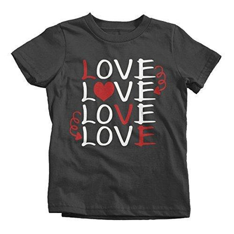 Shirts By Sarah Kids Love Love Valentine Day T-Shirt Boy's Girl's Toddler-Shirts By Sarah