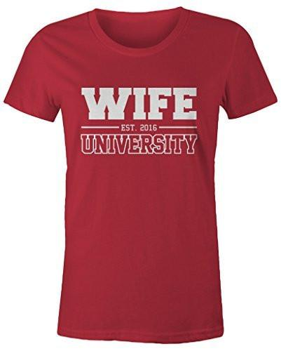 Shirts By Sarah Women's Missy Unisex Wife University Est. 2016 T-Shirt Wedding Anniversary Shirts-Shirts By Sarah